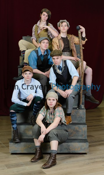 """From top Sage Ashley, Ben Franklin, Grayson Weaver,  Holden Jones, Eli Doell , and Aubrey Campbell play newsboys in Teen Musical Theater of Oregon's production of """"Newsies.""""Photo by Jim Craven/www.jimcravenphoto.com"""