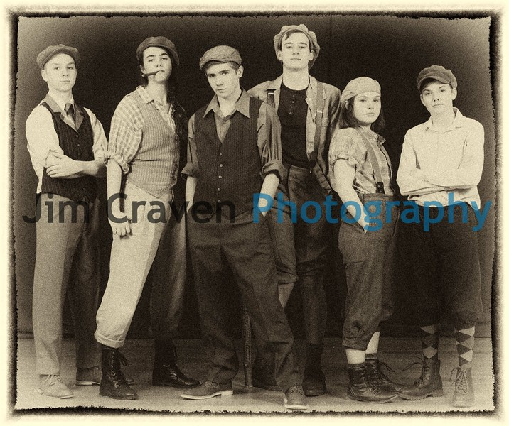 """From left, Holden Jones, Sage Ashley, Grayson Weaver, Ben Franklin, Aubrey Campbell and Eli Doell play newsboys in Teen Musical Theater of Oregon's production of """"Newsies.""""Photo by Jim Craven/www.jimcravenphoto.com"""