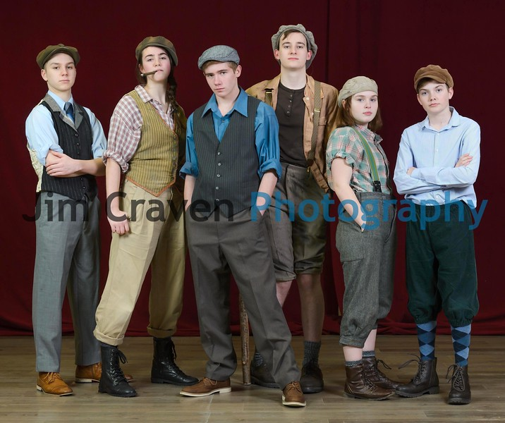 "From left, Holden Jones, Sage Ashley, Grayson Weaver, Ben Franklin, Aubrey Campbell and Eli Doell play newsboys in Teen Musical Theater of Oregon's production of ""Newsies.""Photo by Jim Craven/www.jimcravenphoto.com"