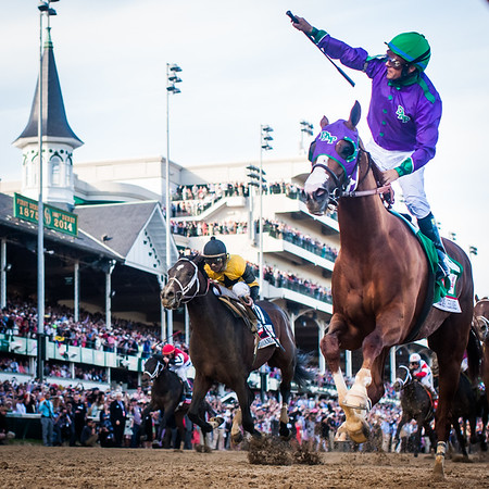 California Chrome (Lucky Pulpit) wins the Kentucky Derby at Churchill Downs on 5.3.2014. Victor Espinoza up, Art Sherman trainer, Dumb Ass Partner (Steven Coburn and Perry Martin) owners.