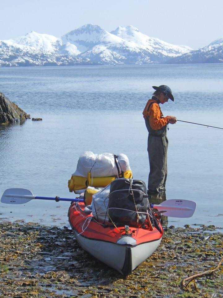 Women fishing in the Prince William Sound Alaska