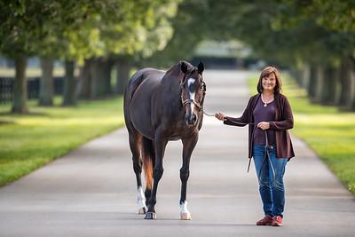Barbara Banke with Rachel Alexandra at Stonestreet Farm 9/17/20.