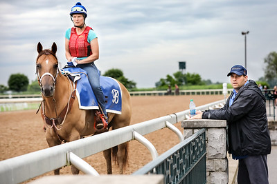 Brad Cox, and assistant Tessa Bisha, at Keeneland 6.25.18.