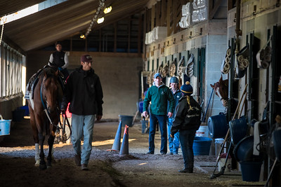 Rodolphe Brisset speaking with employees in the shedrow at keeneland