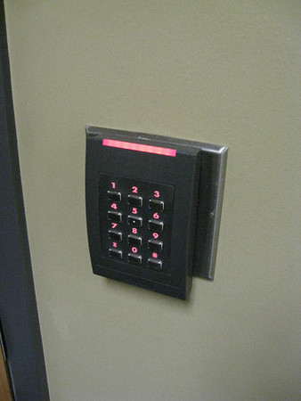 UT's fanciest card access panel -- can be used with card or code or both (for highest security)