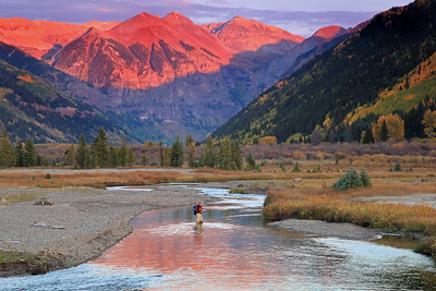 A fly fisherman on the San Miguel river near Telluride Colorado in the fall.