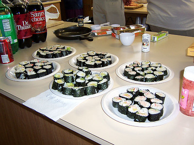 Our plates of sushi that we hand prepared!