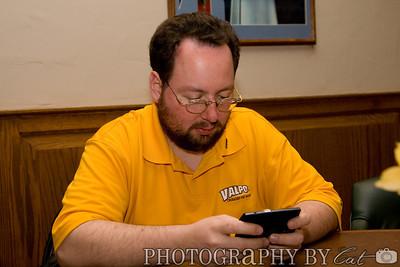 Women's Basketball: 03/12/2008 v. Milwaukee  Simon with his new pda cell phone.