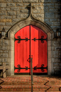 The famous red door of St. Thomas Episcopal Church on Main Street in Abingdon, VA on Friday, July 27, 2012. Copyright 2012 Jason Barnette