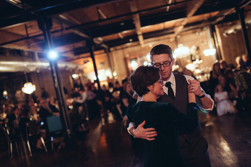 Wedding reception at Salvage One in Chicago.  Wedding photographer – Ryan Davis Photography – Rockford, Illinois.