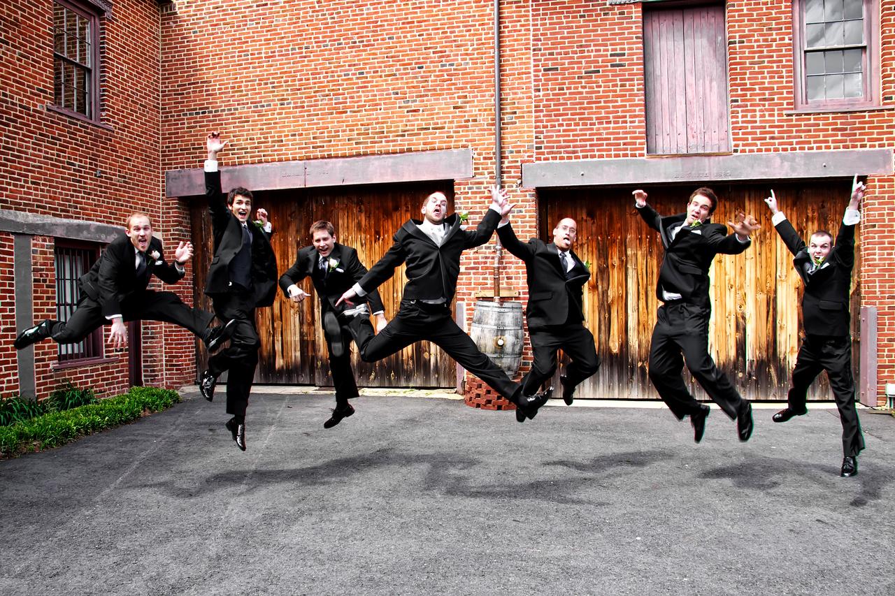 Ben & Laura Haddon Heights Wedding<br /> Athletic jumping