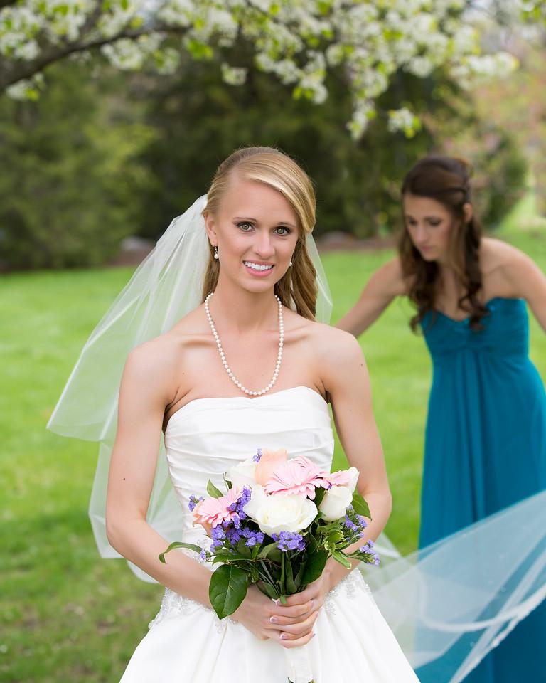 Rebekah adjusting Danielle's Veil