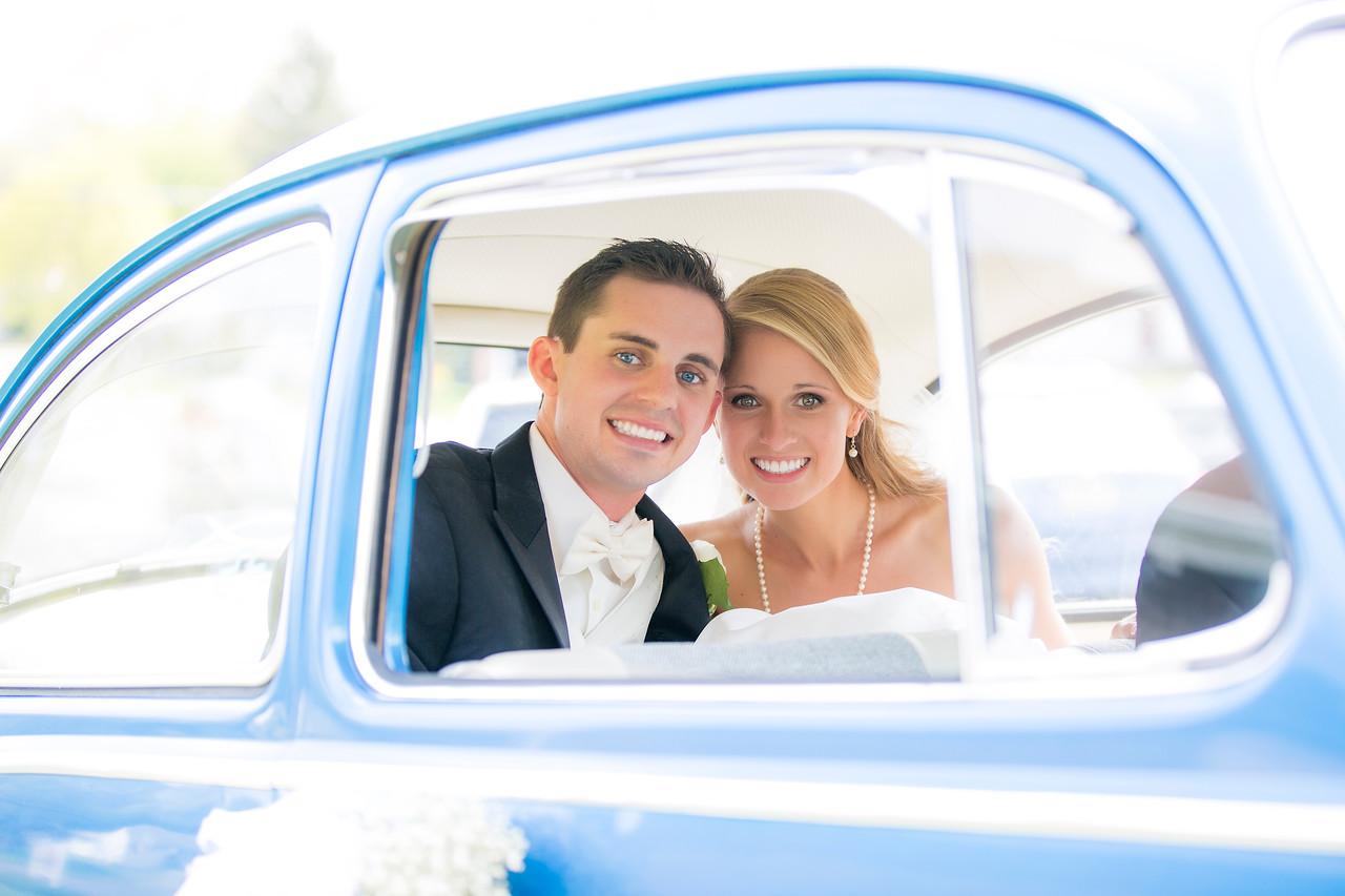 Married! In the getaway vehicle