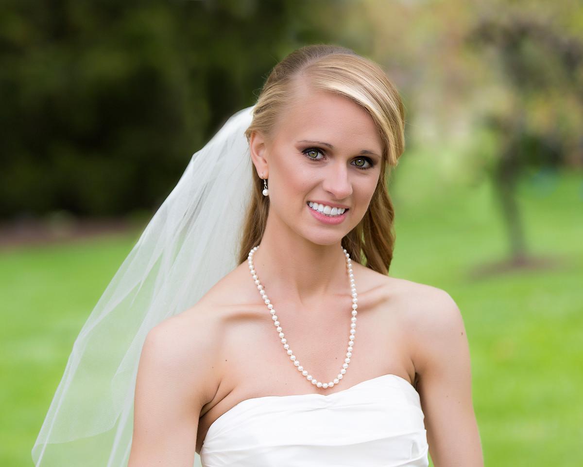 The bride in her backyard