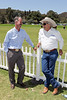Will Rogers Ranch Foundation Board Member Wyatt McCrea (Grandson of western actor Joel McCrea), left, and Stuntman Richard Diamond Farnsworth talk during the Will Rogers Dog Iron Polo event at the Will Rogers State Park Polo Field on Sunday,  Aug. 12, 2012, in Pacific Palisades, Calif. (Photo by Ryan Miller/Capture Imaging)