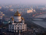 Cathedral of Christ the Saviour on the banks of the Moskva River A - Moscow, Russia