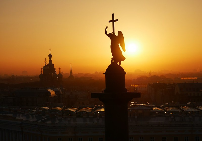 Angel atop the Alexander column - St  Petersburg, Russia