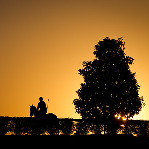 An early morning worker at Keeneland 10.07.10.