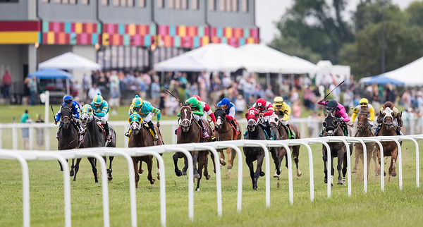 Arklow (green cap, Arch), Florent Geroux up,  wins the $750,000 G3 Calumet Farm Kentucky Turf Cup Stakes for owners Donegal Racing LLC, Joseph Bulger, and Peter Coneway and trainer Brad Cox.
