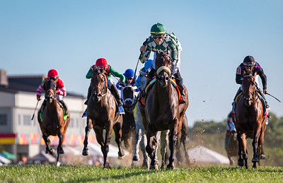 Morticia (Twirling Candy) wins the Ladies Sprint (G3) at Kentucky Downs on 9.7.2019. Tyler Gaffalione up, Rusty Arnold trainer  Watts Humphrey owner.