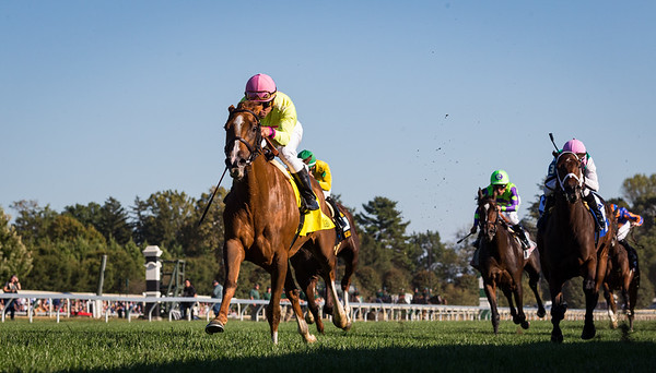"""Uni (#4, More Than Ready) wins the First Lady (G1) a """"Win and You're In"""" Breeders' Cup Filly and Mare Turf Division at Keeneland on 10.5.2019. Joel Rosario up, Chad Brown trainer, Robert LaPenta, Michael Dubb, Head of Plains Partners, and Bethlehem Stables owners."""