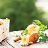 chanterelles, edible mushrooms, parsley and basket