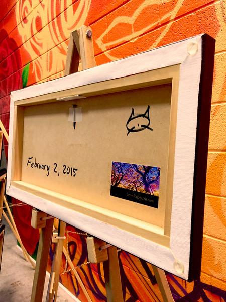 """$120...20""""x 10""""...82_2678 Orange (backside)...canvas on wood"""