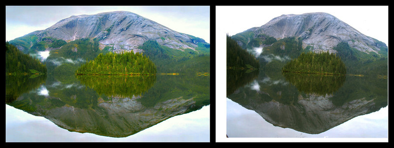 Rhonda's Alaskian Lake Photo. After and Before