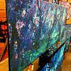 "$280...36""x 15""...80_2222 Sapphire Amethyst...fabric on masonite"