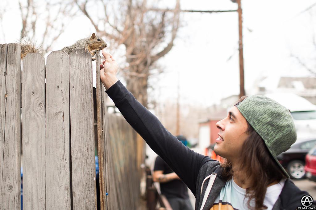 Vic Fuentes and a squirrel