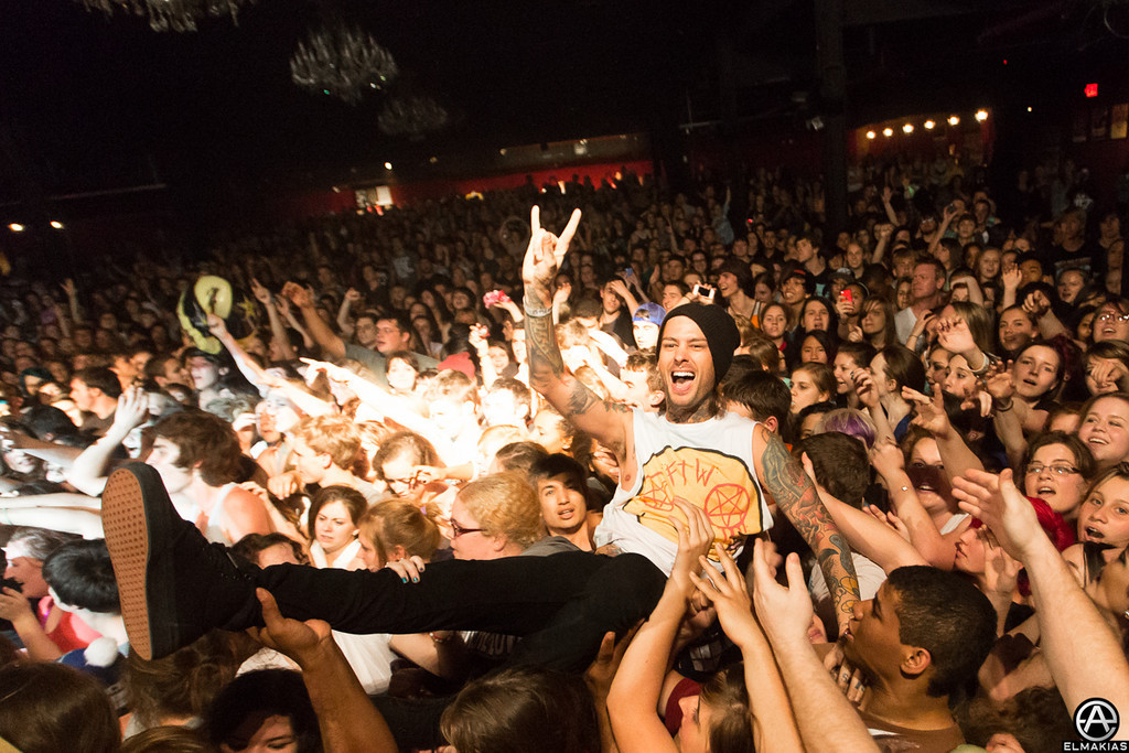Mike crowd surfing