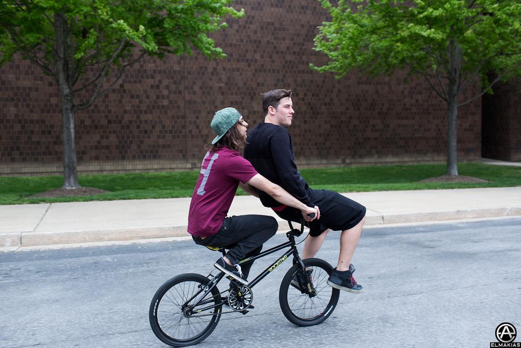 Vic and Zack on a Rockstar bike