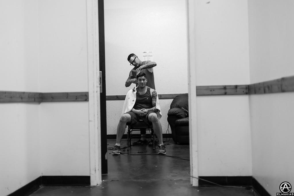 Backstage haircuts