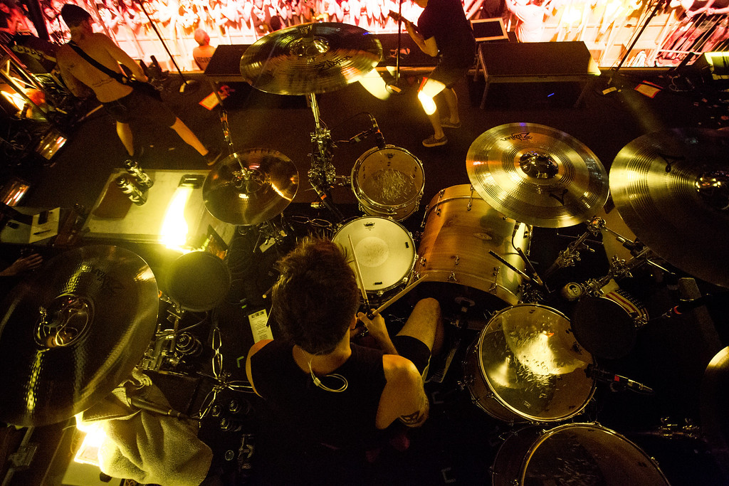 Bird's eye view of Rian Dawson of All Time Low