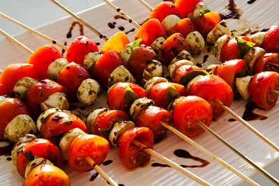 Vegetable Skewers with elegant display.  Finger food at an upscale event.