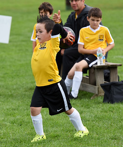 STAN HUDY - SHUDY@DIGITALFIRSTMEDIA.COM A Clifton Park Youth Soccer Club player throws in the ball during a U8 co-ed game Sunday, Oct. 8 at the Clifton Common during the 2016 Clifton Park Fall Soccer Classic.