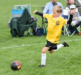 STAN HUDY - SHUDY@DIGITALFIRSTMEDIA.COM A Clifton Park Youth Soccer Club player chases down the ball during a U8 co-ed game Sunday, Oct. 8 at the Clifton Common during the 2016 Clifton Park Fall Soccer Classic.