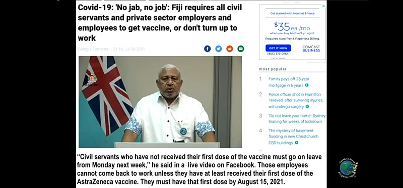 Fiji requires Government employees to get vaccinations or Don't work