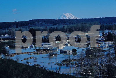 The view east from Interstate 5 overlooking the flooded town of New Nisqually, WA with Mt. Rainier in the background.