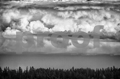 Storm clouds build over the Cascade Mountains in Washington State.