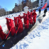 """KRISTOPHER RADDER — BRATTLEBORO REFORMER<br /> Members of the """"Red Brigade"""" show up at a climate change protest outside the Vermont State House, in Montpelier, Vt., on Thursday, Jan. 9, 2020."""
