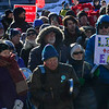 KRISTOPHER RADDER — BRATTLEBORO REFORMER<br /> People gather outside the Vermont State House, in Montpelier, Vt., to protest climate change outside the Vermont State House, in Montpelier, Vt., before the start of Gov. Phil Scott's address to the legislators on Thursday, Jan. 9, 2020.