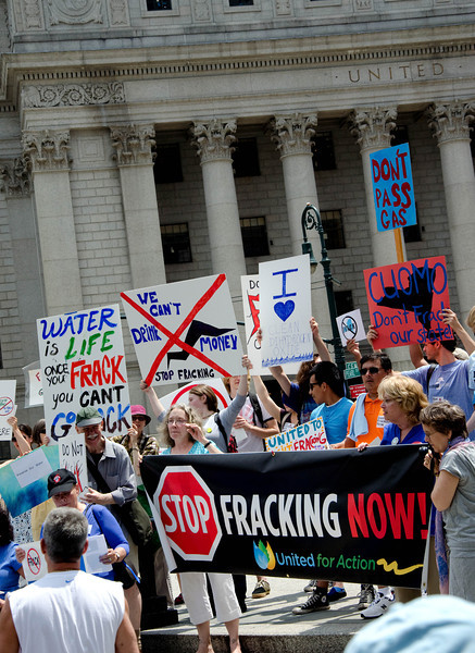 A large protest in Foley Square demanded safe drinking water for New Yorkers. To place gas company profits before that standard is immoral and unthinkable according to those who say no to frac<br /> king.