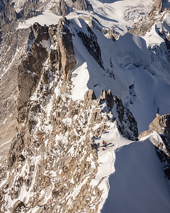 Alpinists on the Arete Rochefort