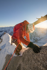 Valentine Fabre on the Arete Gallet, Mont Dolent