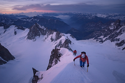 Krishna and Jamie on the Kuffner ridge at dawn, Mont Maudit