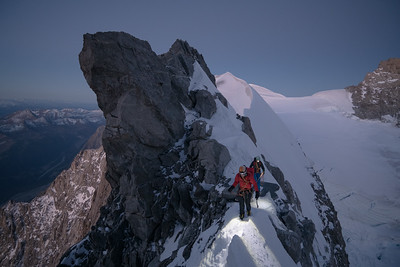 Alastair McDowell and Anna Wells on the Rochefort Arete at dawn