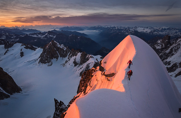Jon Morgan and Paul Cornforth on the Kuffner Arete of Mont Maudit, France/Italy