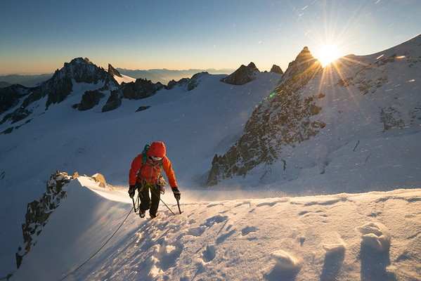 Valentine Fabre on the Migot Spur of the Aiguille du Chardonnet, Chamonix, France