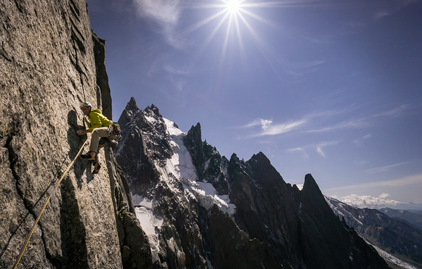 "Tim Neill leading pitch 10 of ""Fidel Fiasco"" on the Aiguille de Blaitière (3522m), Chamonix"